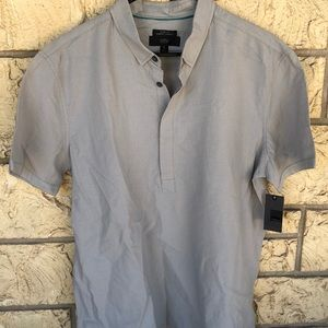 slim fit mossimo mens shirts half button gray NWT